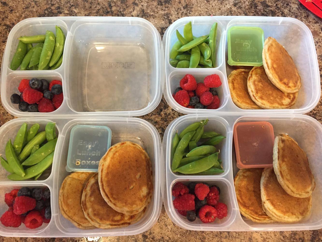 Pancakes, Syrup, Raspberries and Snap Peas