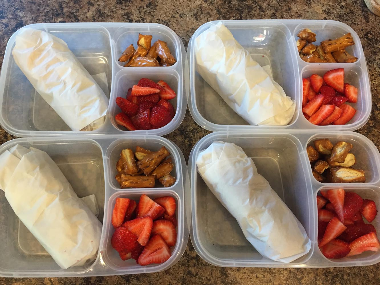 Turkey Wraps, Strawberries, Pretzels