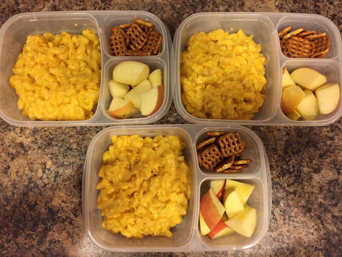 Mac and Cheese, Apples, and Pretzels