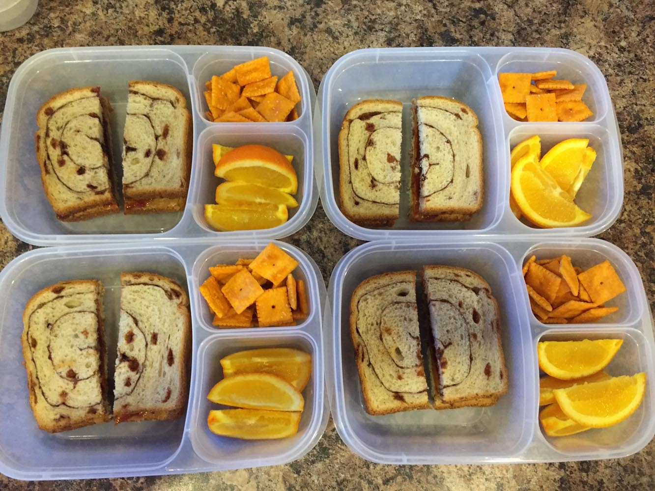 Cinnamon-Swirl PB&J, Orange Slices, Cheese-ITs