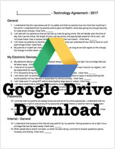 Download the Technology Agreement for Kids from Google Drive